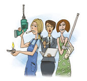 Three workers women. Humor illustration of three worker women Royalty Free Stock Image