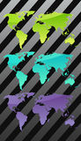 Three world maps. Vector illustration Royalty Free Stock Images