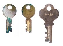 Three worn keys Stock Image