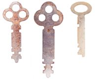 Three worn skeleton keys Stock Photo