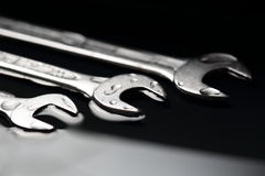 Three Wrenches as a Symbol for Teamwork in Business Groups. Three Wrenches as a Symbol for Teamwork in Business Stock Photo
