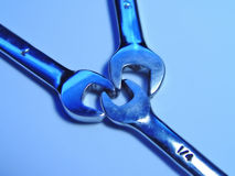 Three Wrenches Together. In Blue Stock Images