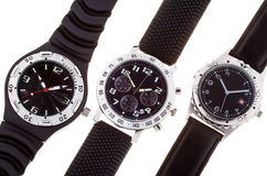 Three Wrist watches with several dials Stock Photos
