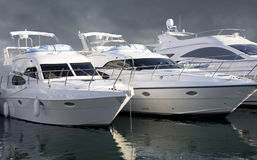 Three Yachts. In Dubai Marina. This image has clipping path. (Original Size Only Stock Photos