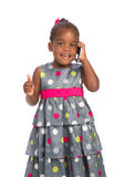 Three Year Old African American Girl Holding Cellphone Royalty Free Stock Photo