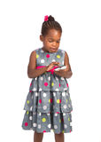 Three Year Old African American Girl Holding Cellphone Stock Photography