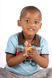 Three year old black boy playing with blocks Royalty Free Stock Images