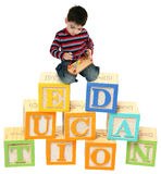 Three Year Old Boy Playing on Alphabet Blocks Stock Image
