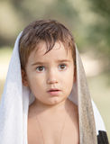 Three year old boy with a serious expression Royalty Free Stock Images
