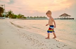 Free Three Year Old Toddler Boy On Beach At Sunset Stock Image - 142695921
