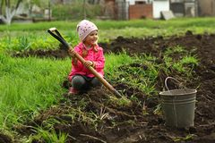 Three year old toddler girl in pink trying to dig the vegetable garden with a spade royalty free stock photos