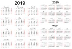 Three year vector calendar - 2019, 2020 and 2021 stock photo
