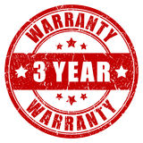 Three year warranty stamp. Three year warranty vector stamp Stock Photos