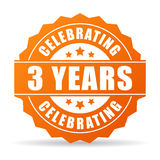 Three years anniversary celebrating icon. Three years anniversary celebrating vector icon Stock Images