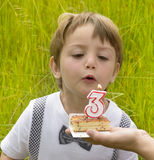 Three years anniversary. One kid at three years anniversary in nature stock photo