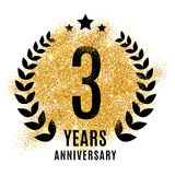 Three years anniversary symbol. Stock Photography