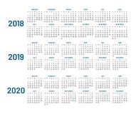 Three years calendar, 2018, 2019, 2020, isolated, flat. Compound planner with blue letters and numbers on a white background. Vector illustration Royalty Free Stock Photos