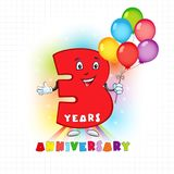 3 anniversary funny logo. Three years old animated logotype. Kids birthday colored card with personified digit, many bright celebrating congratulating balloons Vector Illustration