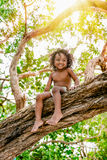 Three years old child sitting on a tree brunch in the jungle forest having fun outdoors Stock Images
