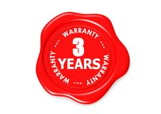 Three YEARS warranty seal. A rendered artwork with white background Stock Photo