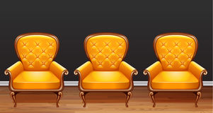 Three yellow armchairs in the room. Illustration Royalty Free Stock Photo