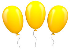 Three yellow balloons Royalty Free Stock Images