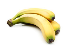Three yellow banana. Isolated on a white background stock image