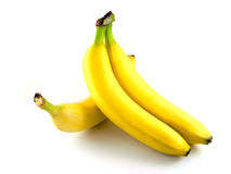 Three yellow bananas. Three yellow banana isolated on a white background Stock Photo