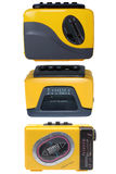 Three yellow and black cassette players. Vintage cassette player, isolated on white royalty free stock photography
