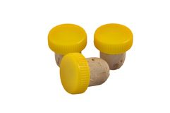Three yellow corks royalty free stock photo