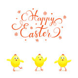 Three yellow Easter chicks on white background Stock Images