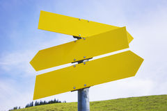 Three yellow empty arrow signs Royalty Free Stock Photo