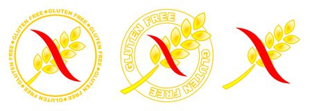 Gluten free icons. Three yellow gluten free icons with red curve Stock Image