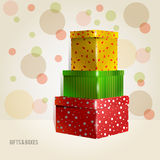 Three yellow, green, red, purple with rounds Royalty Free Stock Photos