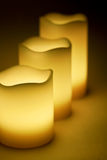 Three yellow LED candles Stock Photography