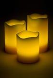 Three yellow LED candles Stock Photo