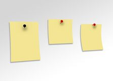 Three yellow message papers Royalty Free Stock Images