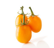 Three Yellow Oblong Tomatoes Royalty Free Stock Photography