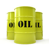 Three yellow oil barrels isolated on white background Stock Photography
