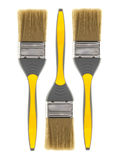 Three Yellow Paint brushes Royalty Free Stock Photography