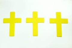 Three Yellow Pastel Christian Crosses isoleted on white backgrou Stock Photo