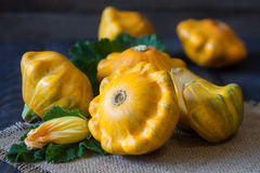Three yellow pattypan squash with leaf and flower on a dark wooden table Royalty Free Stock Image