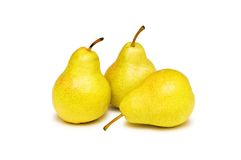Three yellow pears isolated. On the white Stock Image