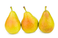 Three yellow pears isolated on white Stock Photography