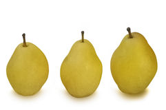 Three yellow pears isolated on white Stock Photo