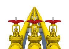 Three yellow pipes with valves Royalty Free Stock Images