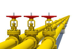 Three yellow pipes with valves Royalty Free Stock Photos