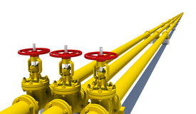 Three yellow pipes with valves Stock Photo