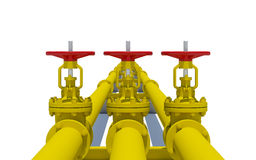 Three yellow pipes with valves Royalty Free Stock Photo