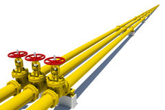 Three yellow pipes with valves Stock Image